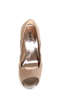 Qupid Miriam 61 Taupe Texture Time Scalloped Peep Toe Pumps at Lulus.com!