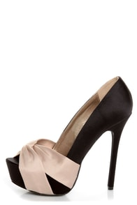Qupid Miriam 70 Black Matte Satin Knotty Bow Platform Pumps at Lulus.com!