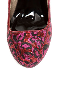 Qupid Neutral 107 Red Fuchsia Leopard Glitter Platform Pumps at Lulus.com!
