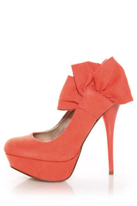 Qupid Neutral 212 Coral Suede Heel Flair Platform Pumps