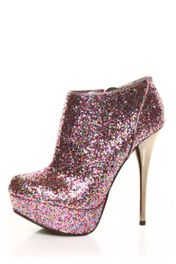 Qupid Neutral 237 Fuchsia Multi Glitter Bootie Pumps