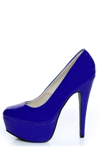 Qupid Penelope 01 Royal Blue Patent Platform Pumps