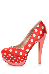 Qupid Penelope 51 Red/White Fabric Polka Dot Platform Pumps