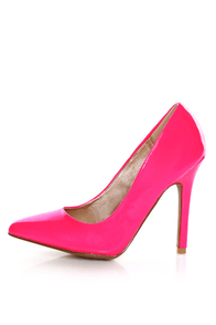 Qupid Potion 01 Neon Pink Patent Pointed Pumps