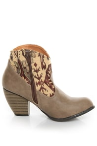 Qupid Priority 19 Taupe Tapestry Ankle Boots at Lulus.com!