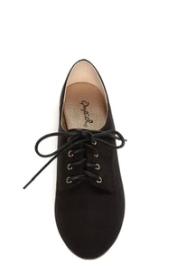 Qupid Salya 585 Black Suede Lace-Up Oxfords at Lulus.com!