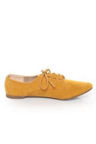 Qupid Salya 585 Mustard Yellow Suede Lace-Up Oxfords at Lulus.com!