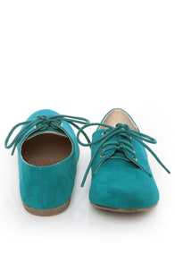 Qupid Salya 585 Teal Suede Lace-Up Oxfords at Lulus.com!