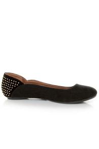 Qupid Savana 156 Black Suede Studded Ballet Flats at Lulus.com!