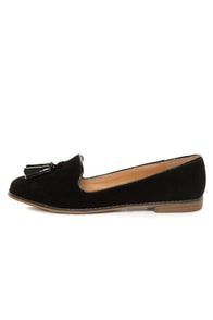 Qupid Strip 40 Black Velvet Tassel Smoking Slipper Flats