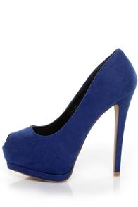 Cobalt Blue And Rose Gold Platform Shoes