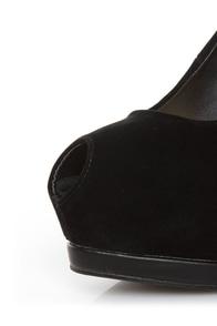 Qupid Tatum 44 Black Keyhole Peep Toe Platform Pumps at Lulus.com!