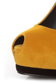 Qupid Tatum 44 Mustard Keyhole Peep Toe Platform Pumps at Lulus.com!