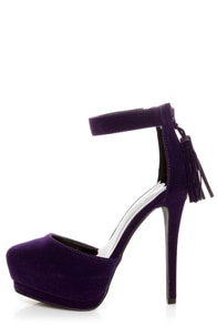 Qupid Tatum 55 Purple Velvet Tassel Pointed Platform Heels
