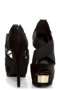 Qupid Tatum 64 Black Banded Peep Toe Platform Heels at Lulus.com!