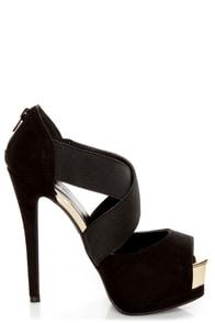 Qupid Tatum 64 Black Banded Peep Toe Platform Heels