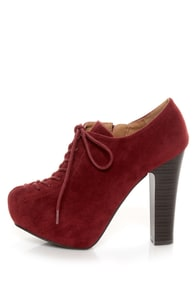 Qupid Theron 03 Garnet Suede Lace-Up Ankle Booties