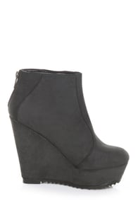 Qupid Timber 17 Black Burnished Ankle Boots