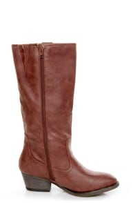 Qupid Trevor 02 Cognac Brown Classic Knee High Riding Boots