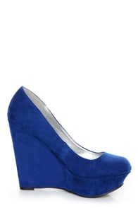 Qupid Worthy 01X Cobalt Blue Suede Platform Wedges at Lulus.com!