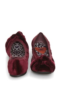 Rocket Dog Amery Cassis Burgundy Velvet Knotted Ballet Flats at Lulus.com!
