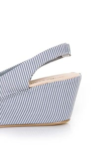 unRestricted Anchor Blue Striped Fabric Platform Wedges at Lulus.com!