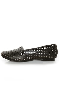 Restricted Gloria Black Laser Cut Smoking Slipper Flats
