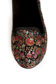Rocket Dog Morrison Black Opera Brocade Smoking Slipper Flats at Lulus.com!