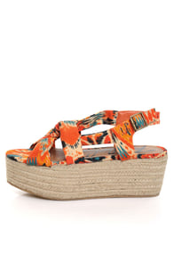 Rebels Osaka Orange Multi Print Knotty Platform Sandals