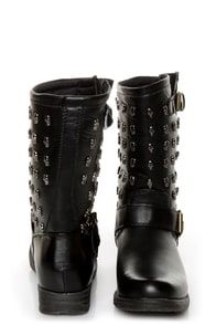 Rebels Skully Black Skull-Studded Mid-Calf Motorcycle Boots at Lulus.com!