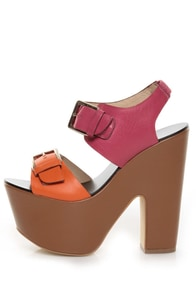Report Signature Bruner Coral Color Block Platform Sandals