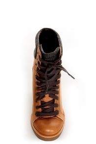 Report Daysha Sand Tan Lace-Up Hiking Wedge Sneakers at Lulus.com!