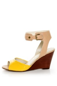 Report Jayde Yellow Patent Color Block Wedge Sandals