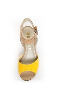 Report Jayde Yellow Patent Color Block Wedge Sandals at Lulus.com!