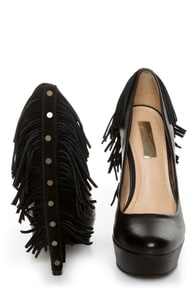 Report Signature Targee Black Fringe Platform Pumps at Lulus.com!