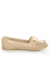 Soda Beside Light Beige Linen Deck Shoe Flats at Lulus.com!