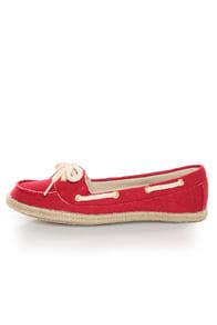 Soda Beside Red Linen Deck Shoe Flats
