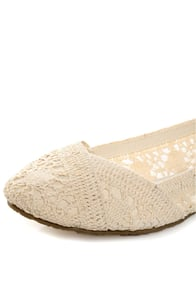 Soda Faddy Beige Crocheted Ballet Flats at Lulus.com!