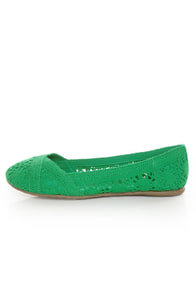 Soda Faddy Green Crocheted Ballet Flats