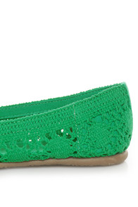 Soda Faddy Green Crocheted Ballet Flats at Lulus.com!