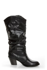 Soda Lode Black Slouchy Mid Calf Boots at Lulus.com!