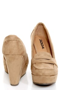 Soda Patio Light Taupe Platform Penny Loafer Wedges at Lulus.com!