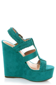 Soda Sotto Deep Teal Braided T-Strap Wedges at Lulus.com!