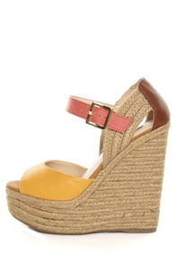 Soda Terani Mustard Multi Color Block Platform Espadrille Wedges