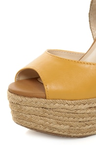 Soda Terani Mustard Multi Color Block Platform Espadrille Wedges at Lulus.com!