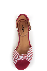 Soda Zaria Red & White Stripe Espadrille Sliver Wedges