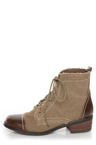 Sbicca Allman Brown Two-Tone Lace-Up Ankle Boots