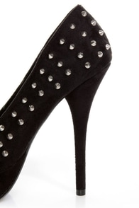 Speed Limit 98 Shark Black Spiked Platform Pumps at Lulus.com!