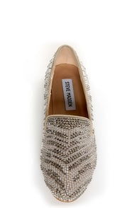 Steve Madden Conncord Pewter Studded Smoking Slipper Flats