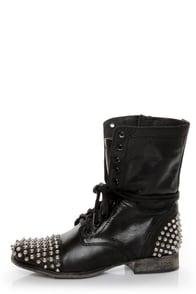Steve Madden Tarnney Grey Leather Studded Lace-Up Combat Boots